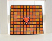 RESERVED - Burnt orange - rectangular mosaic dish
