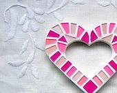 Girly pinks Love heart - Mini wall art mosaic