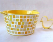 Sunshine yellow mosaic - old fashioned style metal tub  - medium