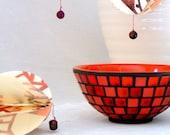Tomato red mosaic bowl