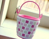 Micro mosaic candy pink mini pail - planter for your pot