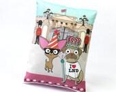 Chihuahua Pug Mini Cushion Buckingham Palace London