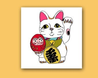 Lucky Fortune Cat Square Blank Greeting card with Coordinating envelope in Bright Tones