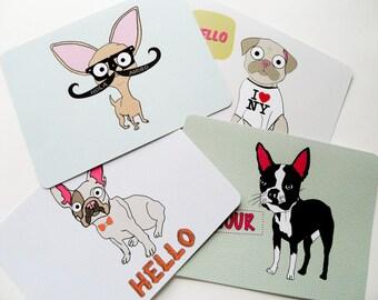 Chihuahua Note Card Set Dog Themed Pug Boston Terrier & French Bulldog