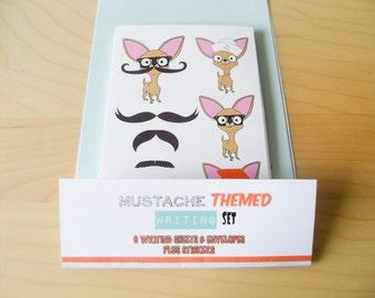 Chihuahua Writing Set With Mustache, Envelopes & Stickers