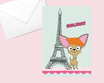 Chihuahua Card Paris Themed