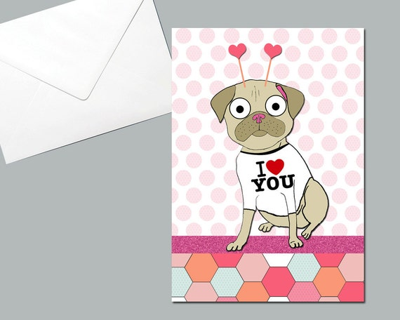 Pug Heart Card Patterned