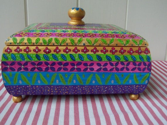 Jewelry / Keepsake / Jewellery  Box  Hand Painted  Multi coloured wooden keepsake  box lined with turquoise felt