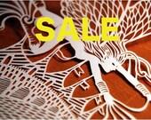 SALE Golden Dragon Paper Cut giclee print