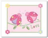 Nursery wall art print girls LOVE LADYBUGS FLOWERS