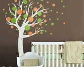 Polka Dots Wall Decal, Circles Wall Decal, Kids Wall decal Polka Dots Circles Tree Nursery Vinyl Wall Decal sticker baby room art decor