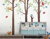 Tree Wall Decals Stickers Forest Trees Wall Decal, Birch Trees Wall Decal,Forest Friends Animals Birds, Squirrels Owl Nursery Wall Decal