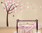 Cherry Blossom Wall Decal, Flower Tree Wall Decal Blooming Cherry Tree Butterflies - Kids Nursery Vinyl Wall Decal Baby Sticker Room Decor