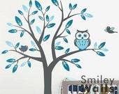 Kids Nursery Vinyl Wall Decal Art, Tree with Owl and Birds Wall Decal, Owls Tree Wall Decal - Children baby Owls Tree wall decal sticker