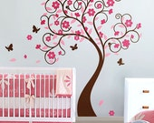 Kids Wall Decals,Cherry Blossom Tree Wall Decal, Wall Sticker, Tree Wall Decal, Curly Flower Tree with Butterflies Wall Decal