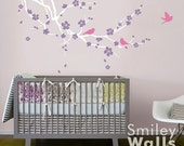 Cherry Blossom Branch and Birds Wall Decal, Cherry Branch Wall Decal, Cherry Blossom Sticker,Baby Nursery Room Wall decal Kids Room Decor