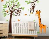 Monkey Tree and Giraffe Wall Decal, Jungle Wall Decal, Monkey and Branch Wall Decal Set, Nursery Playroom Vinyl Wall Art Decal