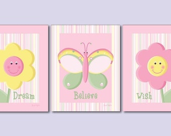 Flowers Nursery Prints, Butterflies Nursery Wall Art, Flowers and Butterflies Nursery Prints, Girls Room Wall Decor, Baby Nursery Prints