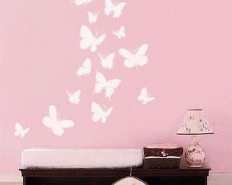Butterflies Wall Decal, Set of 16 Butterflies  Wall Decal, Butterfly Nursery Kids Vinyl Wall Decal Baby Room Decor Art, Butterfly Wall Decal