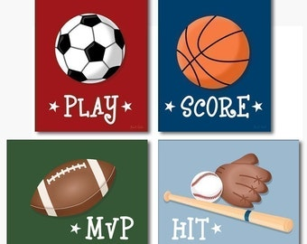 Wall Art Sports Prints Set of 4 Prints Football Basketball Baseball Nursery Decor