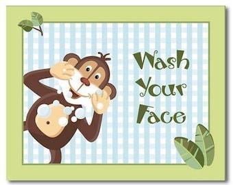 Jungle Monkey Set of 3 Bathroom Prints WASH YOUR HANDS Kids Bathroom Decor Art Prints