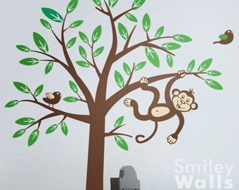 2 Monkeys swinging from Tree and Branch with Birds - Nursery Vinyl Wall Decal