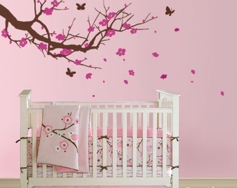 Cherry Blossom Branch Wall Decal, Cherry Blossom Tree with Butterflies Wall Decal Nursery Vinyl Wall Sticker Nursery Decor Flower Decal