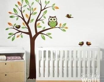 Owl Tree Wall Decal, Tree with Owls Birds Wall Decal, Children Wall decal Nursery Vinyl Wall Decal Baby Room art decor wall decal