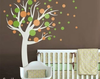 Polka Dots Wall Decal, Circles Wall Decal, Kids Wall decal Polka Dots Circles Tree Nursery Vinyl Wall Decal sticker baby room art decor