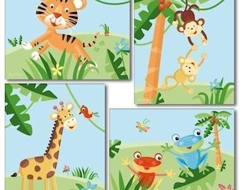 Kids Wall Art Nursery Decor Set of 4 Nursery Art Prints Rainforest Jungle Animals