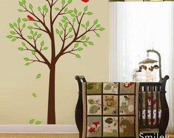 Tree and Birds Wall Decal, Tree Wall Decal, Forest Trees Wall Decal Nursery Kids Vinyl Wall Decal Spring Trees Decal Nursery Wall Decal