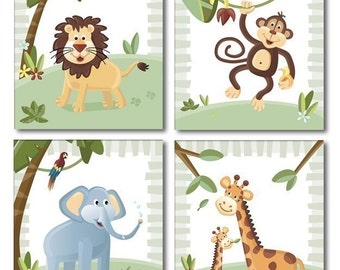 Jungle Animals Wall Art, Jungle Animals Prints for Nursery Room Decor,Jungle Animals Set of 4 Art Prints forKids Room, Monkey Print, Lion
