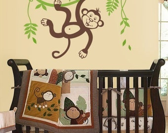 Jungle Monkey Swinging on a Vine and Cute Toucan Wall Decal, Vinyl Wall Decal for Kids Nursery, Monkey Wall Decal, Kids Room Decor