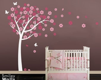 Cherry Blossom Tree Wall Decal, Blooming Cherry Tree with Butterflies, Flowers Tree, Kids Baby Nursery Room Decor, Tree Wall Decal Sticker