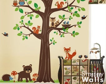 Woodland Animals Wall Decal, Forest Animals Huge Tree Wall Decal, Nursery Kids Baby Room Vinyl Wall Decal Art, Fox Wall Decal, Bear Owls
