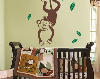 LARGE Vinyl Wall Decal for Kids - Jungle Monkey Swinging from a Branch
