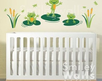 frogs wall decal froggy friends and dragonflies nursery wall decal bathroom wall decal frogs wall