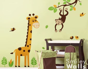 Jungle Wall decal, Monkey Wall Decal, Giraffe Wall Decal, Branch Wall Decal Nursery Decor Safari Wall Decal Jungle Animals Wall Decal