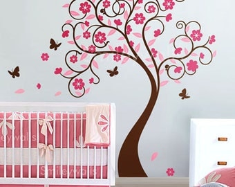 Cherry Blossom Tree Wall Decal, Cherry Tree Wall Sticker, Flowers Tree Baby Room Wall Decal,  Flower Tree Butterflies Nursery Wall Decal