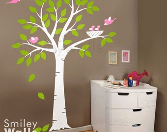 Birds Nest Tree Wall Decal, Tree with Bird Nest and Birds Nursery Vinyl Wall Decal, Tree Wall Decal, Birds Wall Decal, Tree Sticker Wall Art