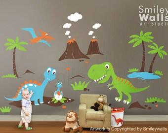 Dinosaurs Wall Decal, Dino Dinosaurs Land HUGE Set Baby Nursery Kids Playroom Vinyl Wall Decal Sticker Decor, Dinosaurs Wall Sticker