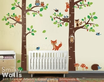Woodland Wall Decal, Forest Animals wall decal Tree Tops Woodland Critters, Children Nursery Kids Playroom Vinyl Wall Decal Sticker