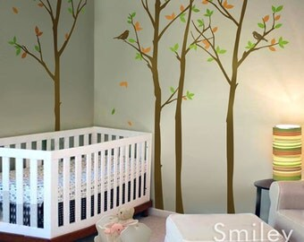 Forest Trees with Birds Wall Decal, Thin Birch Trees Wall Sticker, 100 inches, Nursery Kids Decor Vinyl Wall Decal Art, Trees Wall Decal