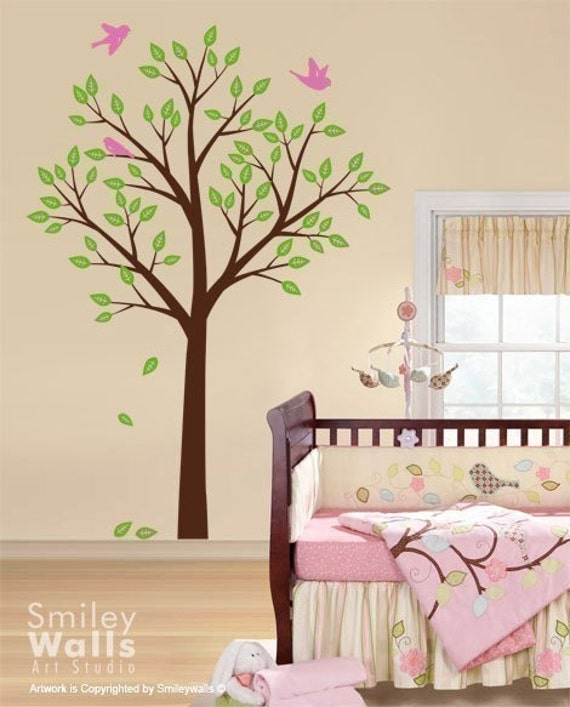 Tree Wall Decal Wall Decal Tree And Birds Nursery Vinyl - Kids tree wall decals