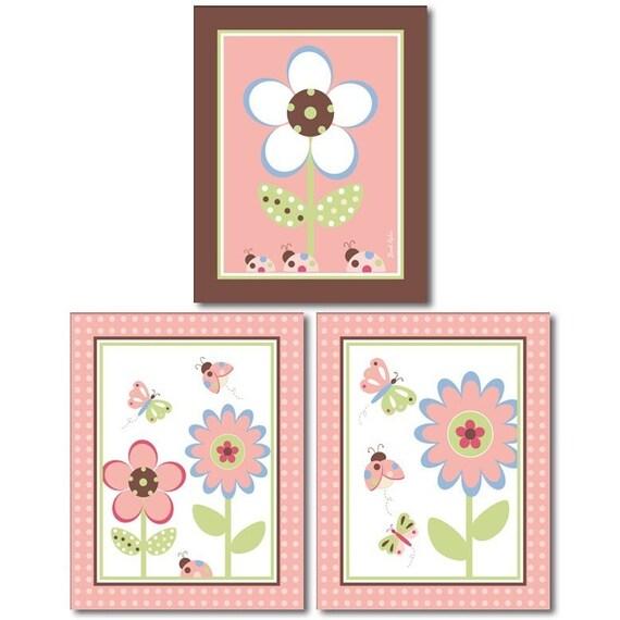 Set of 3 Nursery Prints Butterflies Ladybugs Flowers