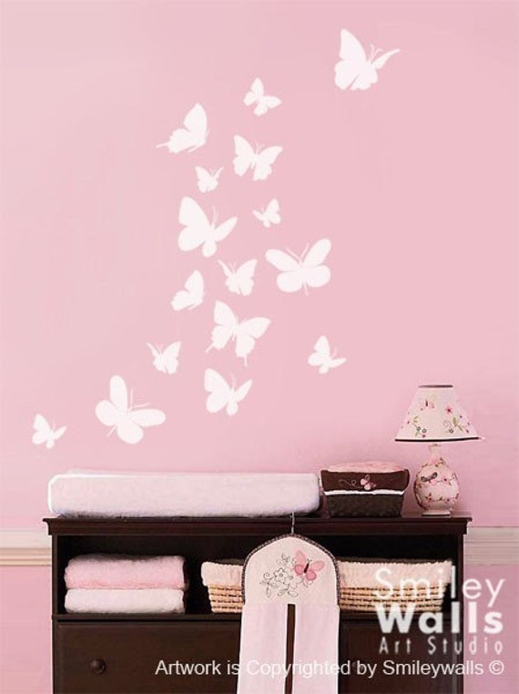 Exceptionnel Butterflies Wall Decal Set Of 16 Butterflies Wall Decal