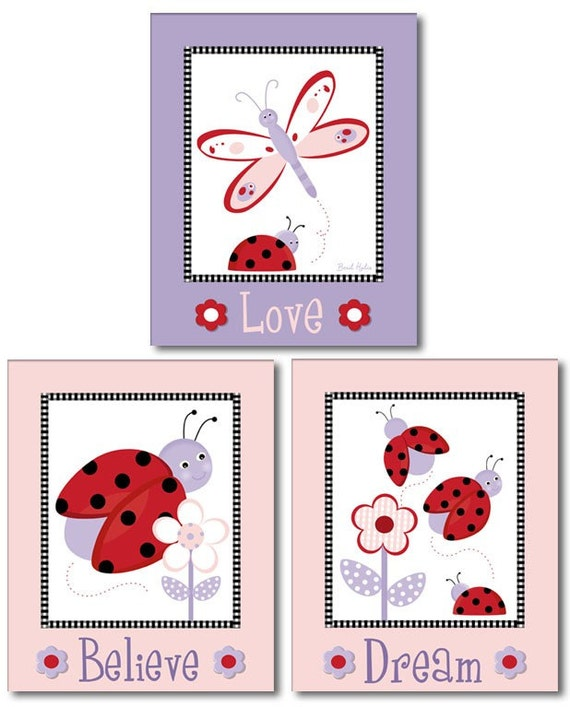 Ladybugs Wall Art, Ladybugs Nursery Prints, Butterflies Wall Decor, Ladybugs Wall Decal for Girls Room, Nursery Wall Art, Wall Stickers