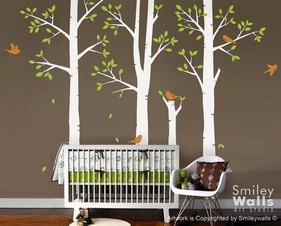 Spring Trees and Birds - Nursery Vinyl Wall Decal