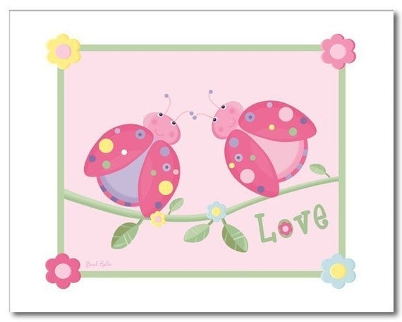 Nursery wall art print girls LOVE LADYBUGS FLOWERS