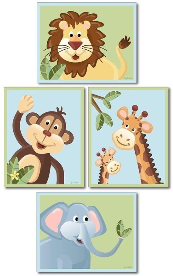 Jungle Animals Nursery Wall Art Baby Nursery Decor Prints, Kids Wall Art elephant giraffe monkey lion Set of 4 Nursery Art Prints